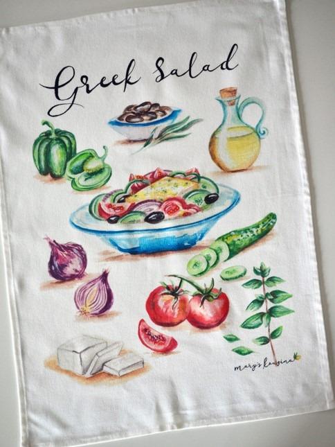 Greek Salad Tea Towel image 2