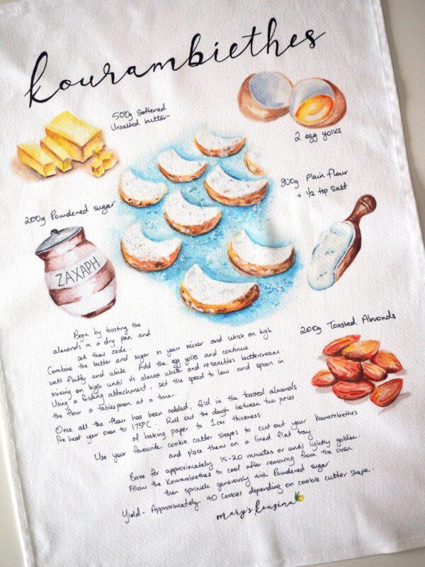 Kourambiethes Tea Towel main recipe